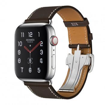 Смарт-часы Apple Watch Hermes Series 5 + LTE 44mm Stainless Steel Case with Ebene Single Buckle