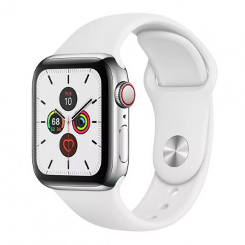 Смарт-часы Apple Watch Series 5 + LTE 44mm Stainless Steel Case with White Sport Band