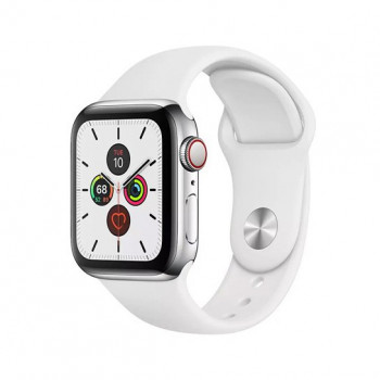 Смарт-часы Apple Watch Series 5 + LTE 40mm Stainless Steel Case with White Sport Band