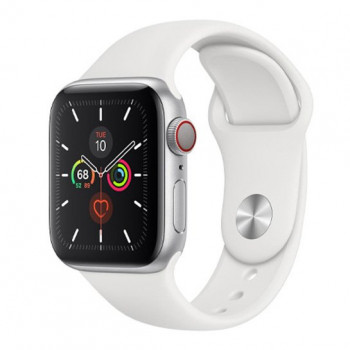 Смарт-часы Apple Watch Series 5 + LTE 44mm Silver Aluminum Case with White Sport Band