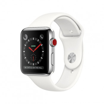 Смарт Часы Apple Watch Series 3 + LTE 38mm Stainless Steel Case with Soft White Sport Band