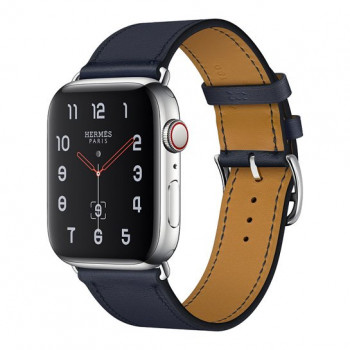 Смарт-часы Apple Watch Hermes Series 4 + LTE 44mm Stainless Steel Case with Bleu Indigo Swift Leather Single Tour