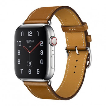 Смарт-часы Apple Watch Hermes Series 4 + LTE 44mm Stainless Steel Case with Fauve Barenia Leather Single Tour