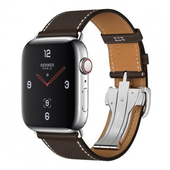 Смарт-часы Apple Watch Hermes Series 4 + LTE 44mm Stainless Steel Case with Fauvei Leather Tour Band