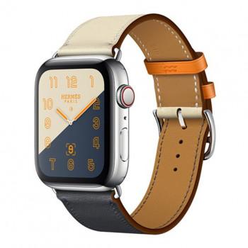 Смарт-часы Apple Watch Hermes Series 4 + LTE 44mm Stainless Steel Case with Indigo/Craie/Orange Swift Leather Single Tour